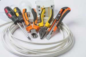 Electrician tools and wiring